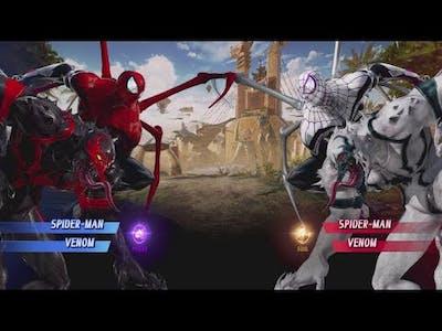 Spider-man and Venom vs White Spider-man and Venom - MARVEL VS. CAPCOM: INFINITE
