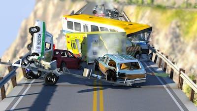 COLLAPSING BRIDGE PILE UP CRASHES #3 - BeamNG Drive | CRASHdriven