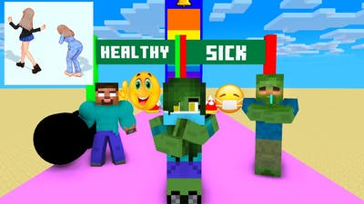 Minecraft, RUN HEALTHY Challenge GIRLS & BOY | HAHA ANIMATION