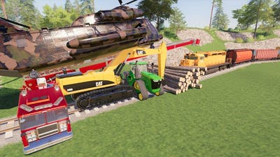 We STOPPED the train (kind of)   Farming simulator 19