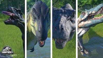 Spino vs Indoraptor vs TRex vs IRex  - Dinosaurs Fighting Jurassic World Evolution (1080p)