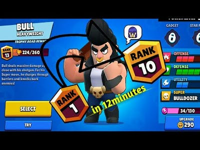 Rank 1 to Rank 10 in 12minutes|| packed a new hero**Brawl Stars**