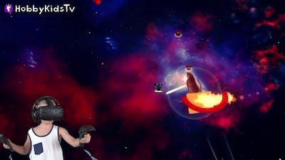 Space Cats with Laser Beams! Virtual Reality Gaming Family Fun HobbyKidsTV